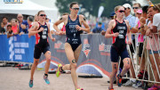 Gwen Jorgensen, Non Stanford, and Vicky Holland at ITU WTS Chicago 2015