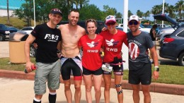 Andrew Starykowicz, Jess Jones, and Caroline Gaynor pause for a photo with some fans